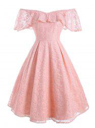 Flounce Overlay Lace Off Shoulder Party Dress -