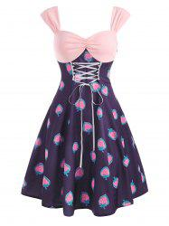 Vintage Strawberry Print Lace Up Ruched Dress -
