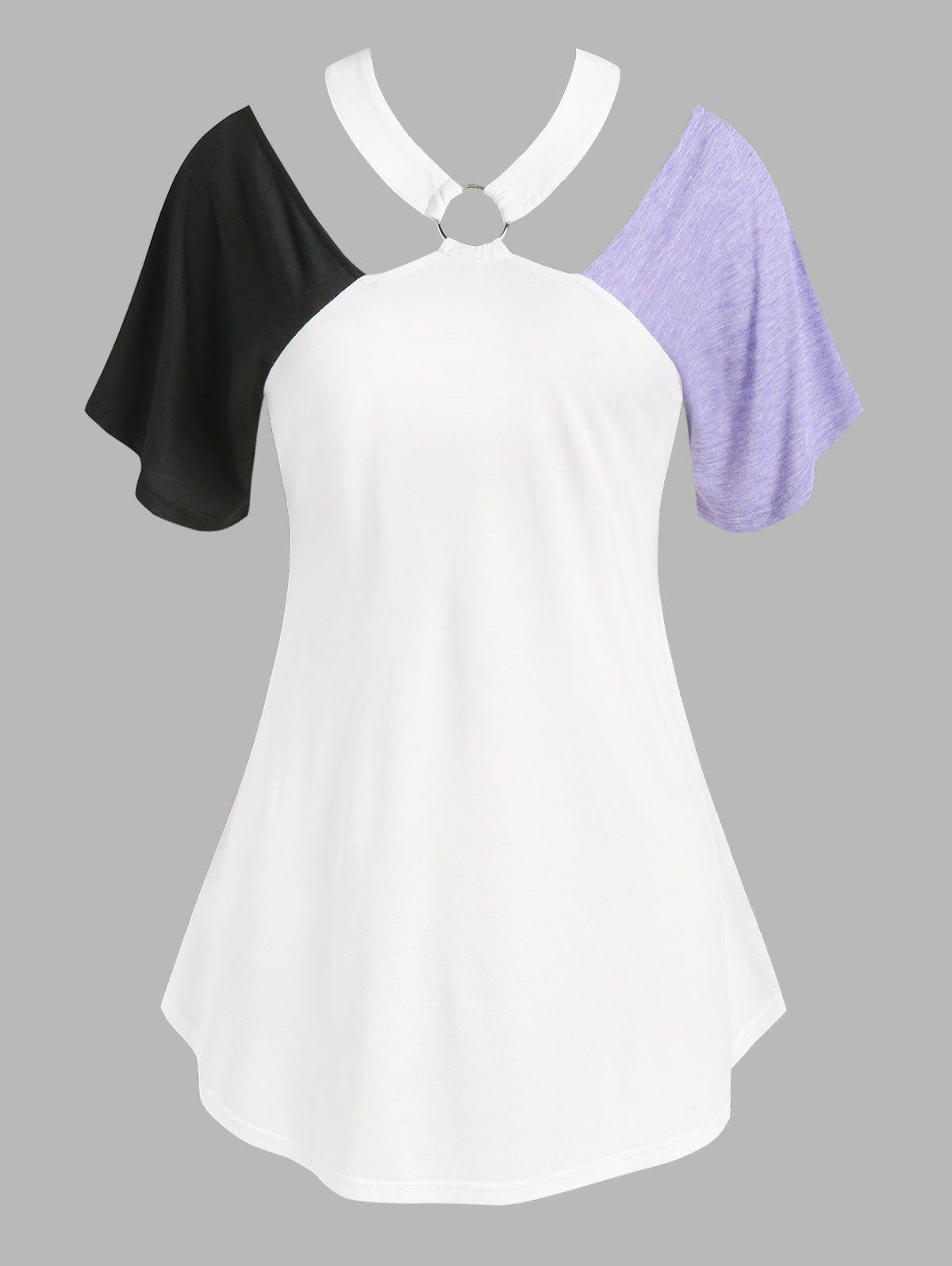 Best Plus Size Cutout Colorblock O Ring Tunic Tee