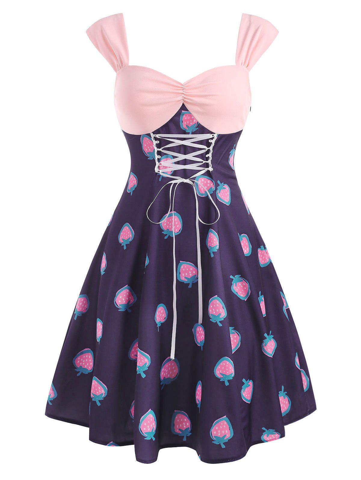Store Vintage Strawberry Print Lace Up Ruched Dress