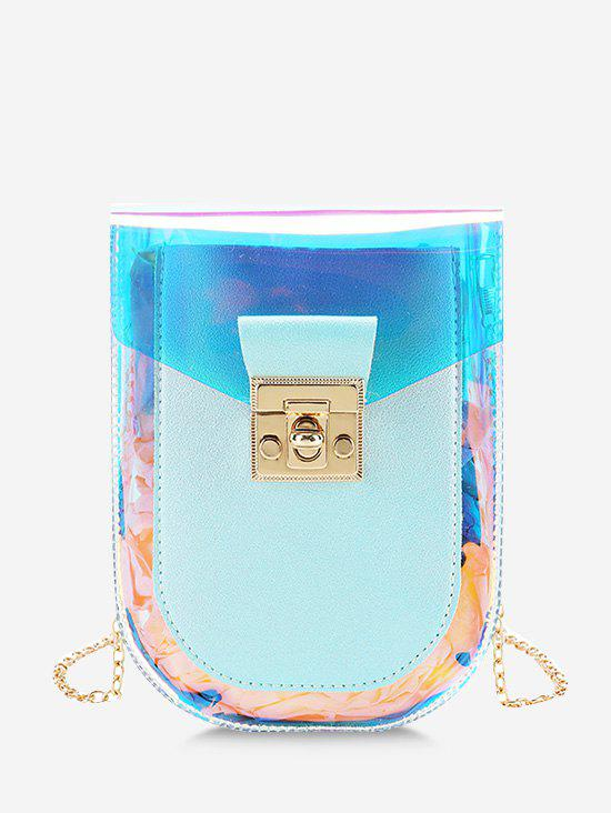 Buy Iridescent Faux Leather Spliced Chain Crossbody Bag