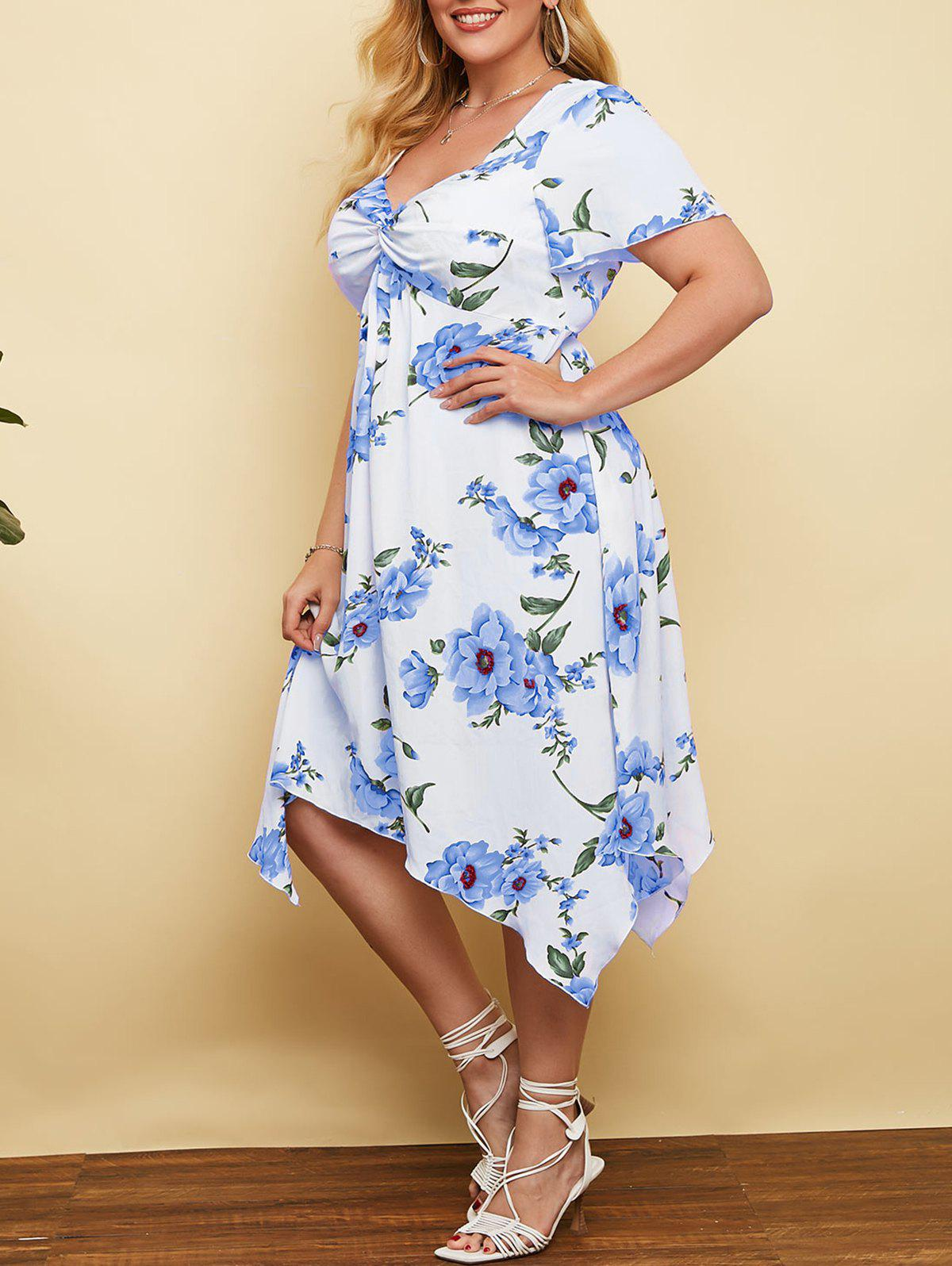 New Plus Size Plunge Floral Print Front Twist Handkerchief Dress