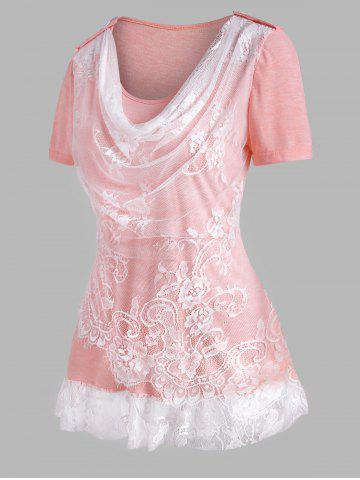 Lace Insert Cowl Front Ruffle Hem T Shirt - LIGHT PINK - XL
