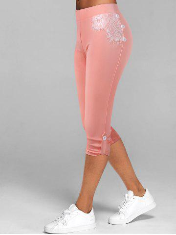 Lace Insert Button Tab Crop Leggings - LIGHT PINK - XL