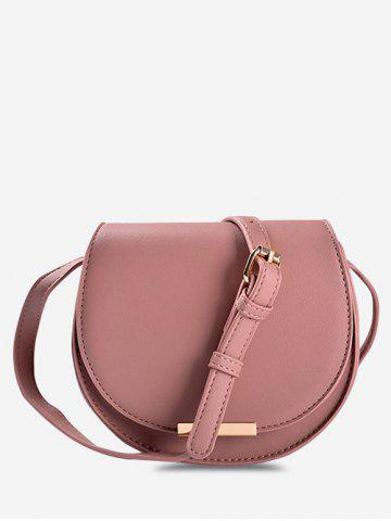 Solid Cover Crossbody Saddle Bag - PINK