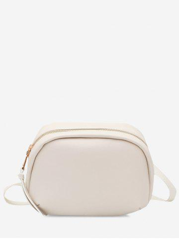Oval Solid Wide Strap Crossbody Bag - WHITE