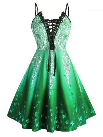 Plus Size Ombre Butterfly Lace-up Crochet Panel Cami Dress - GREEN - 1X