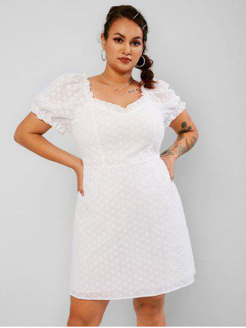 Plus Size Puff Sleeve Ruffled Broderie Anglaise Dress - WHITE - 2XL