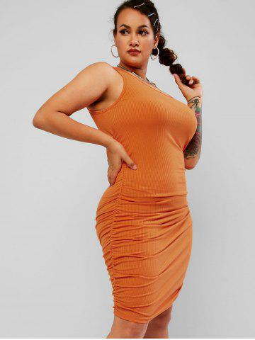 Plus Size Ruched Skew Neck Ribbed Tight Dress