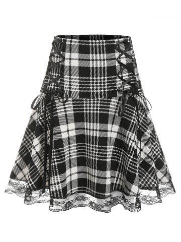 Plus Size Lace Edge Checked Lace Up Skirt