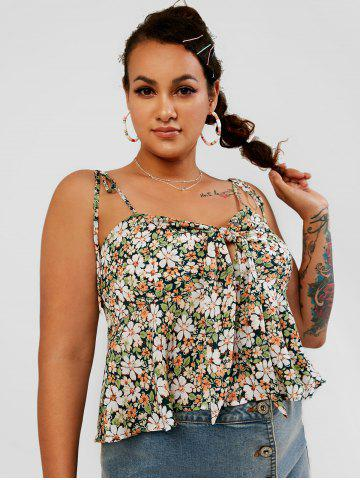 Floral Knotted Tie Shoulder Plus Size Cami Top - GREEN - 4XL