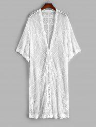 Mesh Flower Embroidered Tie Front Drop Shoulder Cover Up -