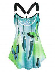Plus Size Dreamcatcher Butterfly Print O Ring Tank Top -