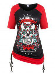 Plus Size Cinched Skull Butterfly Print Gothic Tee -