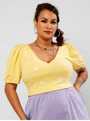 Plus Size Floral Embroidered Ribbed Puff Sleeve Top -