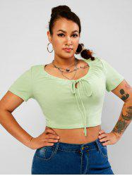 Drawstring Tie Front Solid Plus Size Cropped Tee -