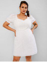 Plus Size Puff Sleeve Ruffled Broderie Anglaise Dress -
