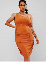 Plus Size Ruched Skew Neck Ribbed Tight Dress -