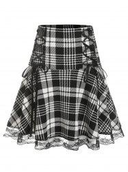 Plus Size Lace Edge Checked Lace Up Skirt -