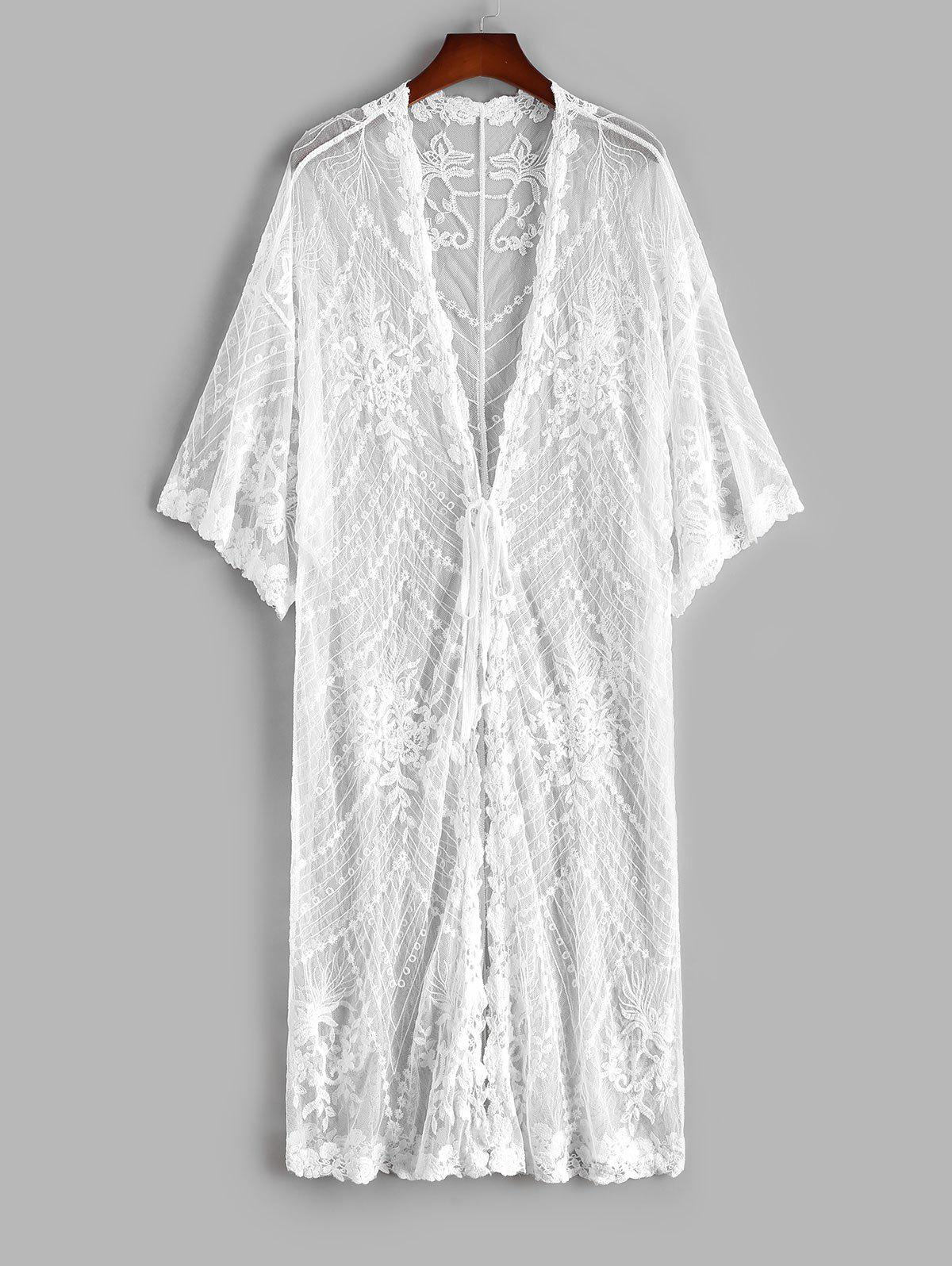 Best Mesh Flower Embroidered Tie Front Drop Shoulder Cover Up