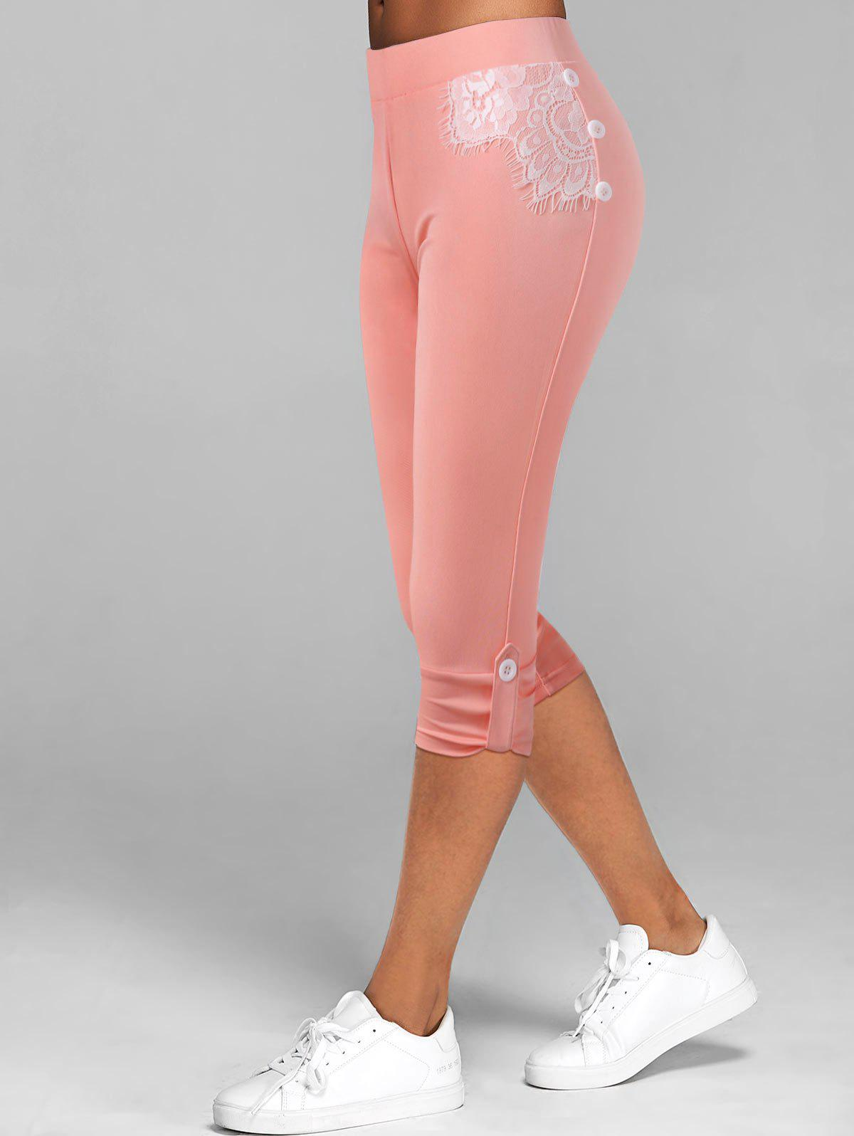 Fancy Lace Insert Button Tab Crop Leggings