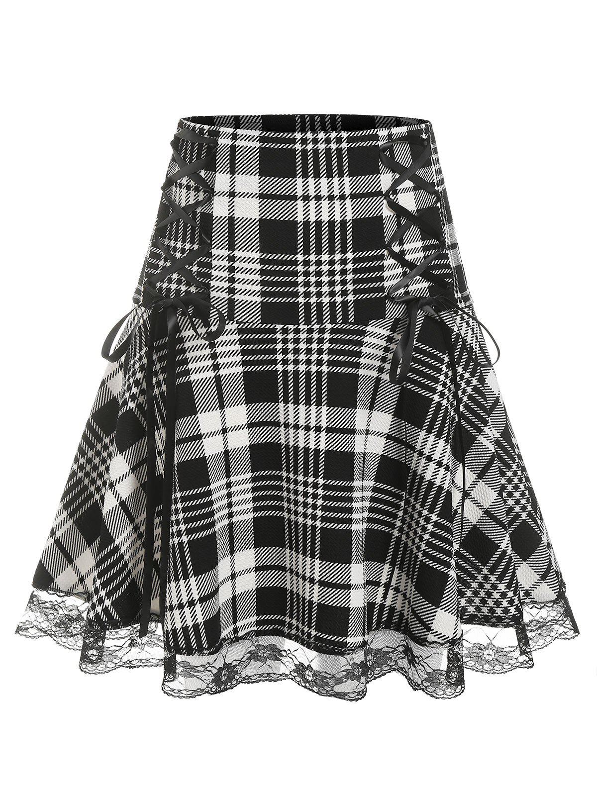 Shops Plus Size Lace Edge Checked Lace Up Skirt