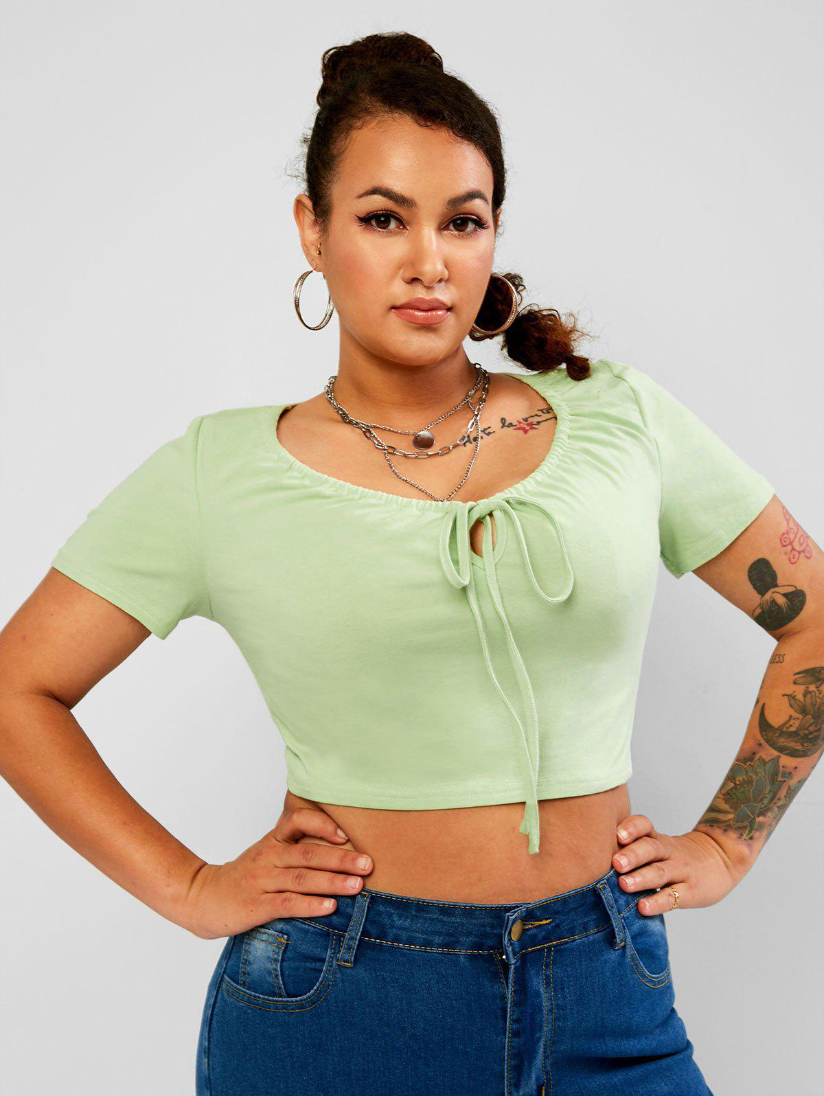Affordable Drawstring Tie Front Solid Plus Size Cropped Tee