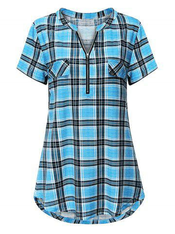 Plus Size Plaid Half Zip Curved Hem Tunic Tee - BLUE - XL