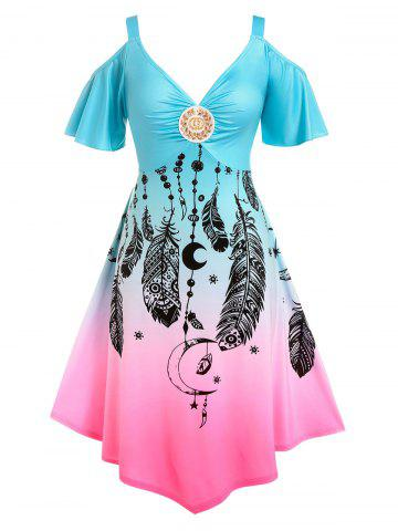 Plus Size Ombre Color Cold Shoulder Feather Print Dress