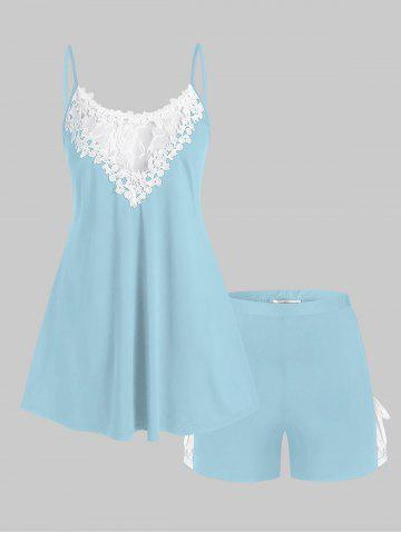 Plus Size Lace Panel Pajama Cami Top and Shorts Set - LIGHT BLUE - 2X