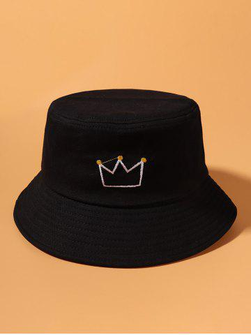 Crown Embroidery Cotton Bucket Hat - BLACK