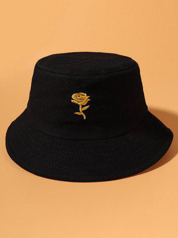 Gold-Tone Rose Embroidery Bucket Hat