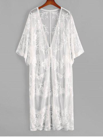 Tie Front Floral Crochet Mesh See Thru Cover Up - WHITE - ONE SIZE