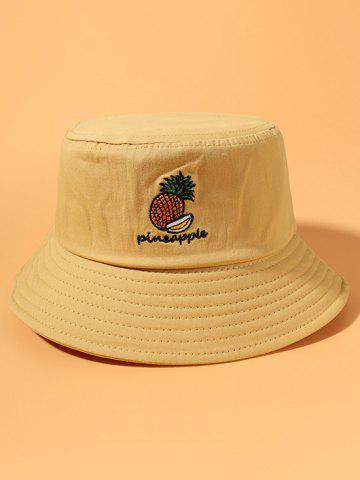 Pineapple Embroidery Cotton Bucket Hat