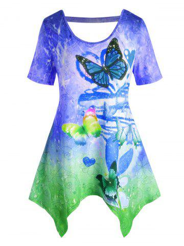 Plus Size Ombre Butterfly Cutout Handkerchief Tunic Tee - BLUE - L