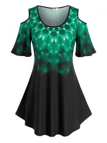 Plus Size Feather Print Cold Shoulder T Shirt - GREEN - 3X