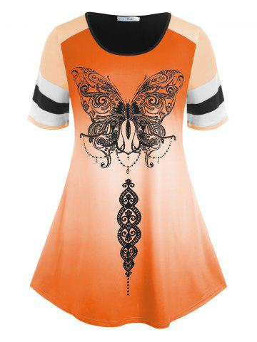 Plus Size Ombre Color Butterfly Print Tee