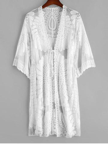 Tie Front Mesh Flower Crochet Beach Cover Up - WHITE - ONE SIZE