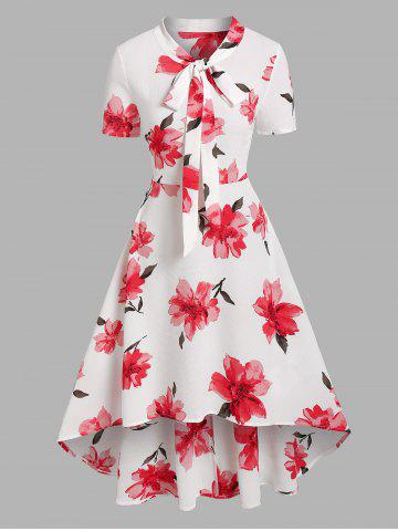Flower Print Pussy Bow Flare High Low Dress - WHITE - XL