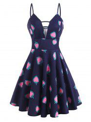 Planet Strawberry Print Empire Waist Plunge Front Dress -