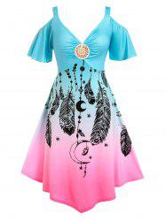 Plus Size Ombre Color Cold Shoulder Feather Print Dress -