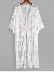 Tie Front Floral Crochet Mesh See Thru Cover Up -