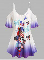Plus Size Butterfly Print Ombre Color Cold Shoulder Tee -