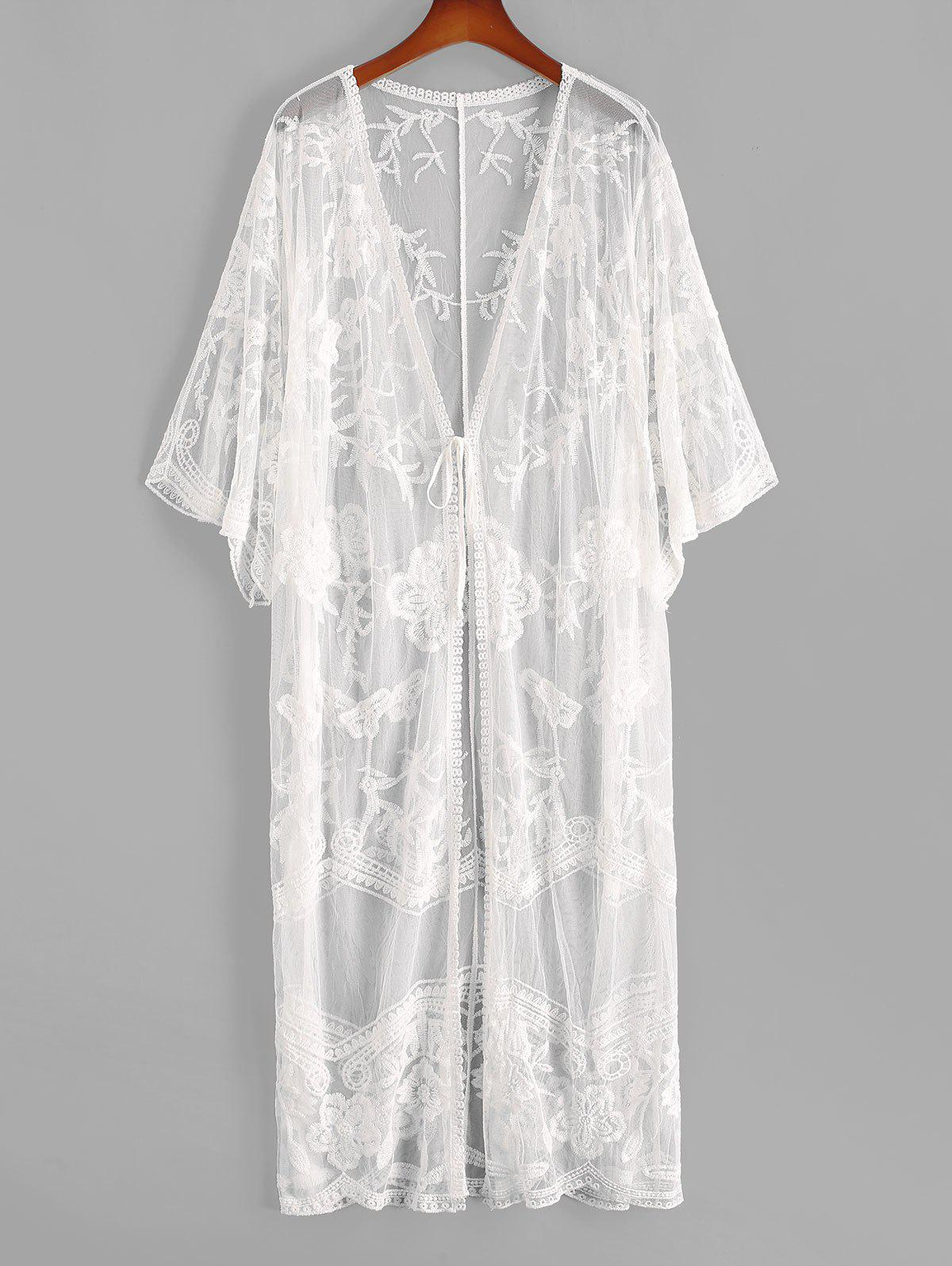 Outfits Tie Front Floral Crochet Mesh See Thru Cover Up