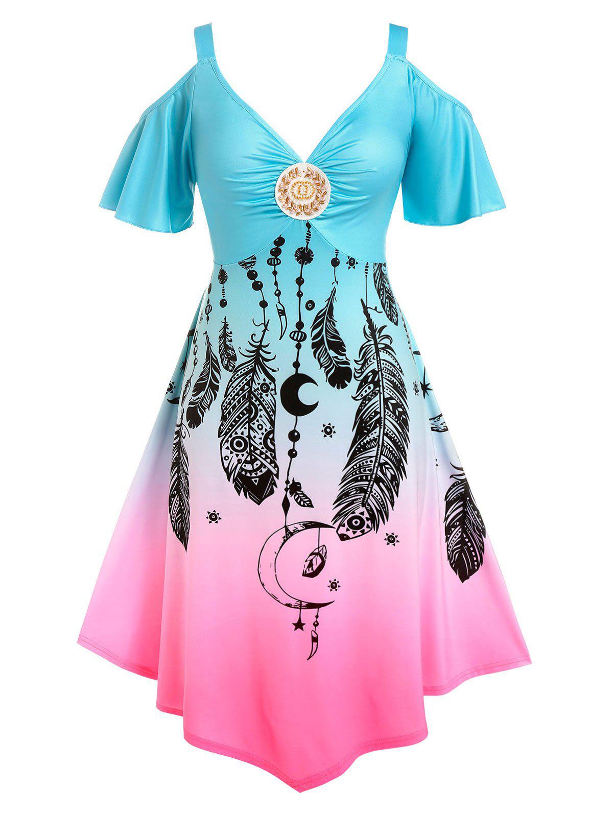 Shop Plus Size Ombre Color Cold Shoulder Feather Print Dress