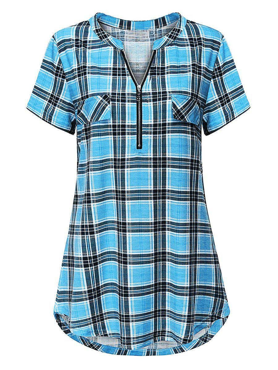 Outfit Plus Size Plaid Half Zip Curved Hem Tunic Tee