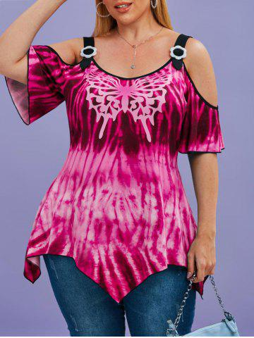 Tie Dye Butterfly Cold Shoulder Handkerchief Plus Size Top - LIGHT PINK - 2X