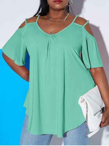 Plus Size Cold Shoulder Double Strap Cutout Tee - LIGHT GREEN - 3X