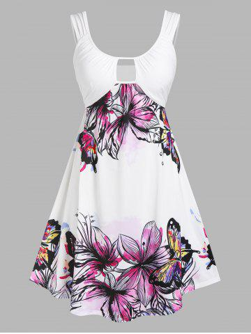 Plus Size Cutout Flower Butterfly Print Dress