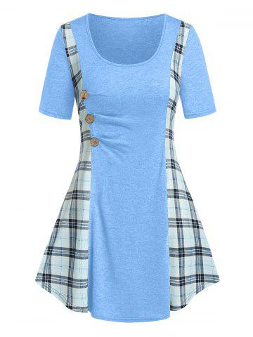 Plus Size Plaid Ruched A Line Tunic Long Tee - LIGHT BLUE - 3X
